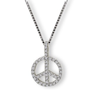 Avanti Sterling Silver Cubic Zirconia Peace Symbol Necklace