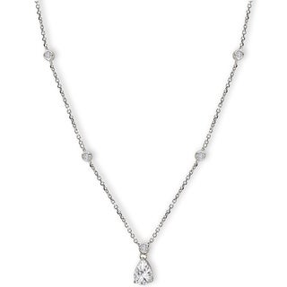 Avanti Sterling Silver Cubic Zirconia Round and Pear Station Necklace
