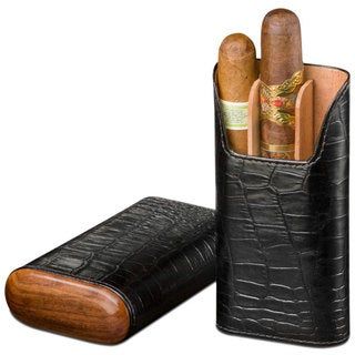Brizard & Co Croco Black Leather and Rosewood 3 Finger Cigar Case