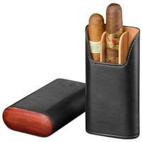 Brizard & Co Sunrise Black Leather and Padauk 3 Finger Cigar Case