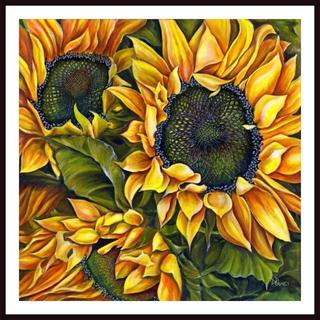 Debra Bucci 'Brilliant Sunflowers' Framed Art