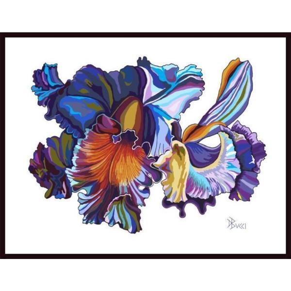 "Debra Bucci ""Cattleya Orchid Multi Blue"" Framed Art"