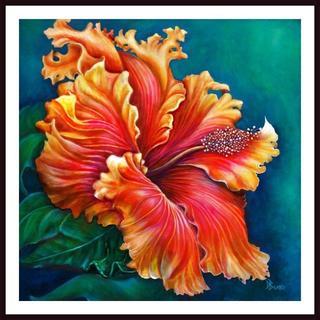 Debra Bucci 'Hibiscus Fever - Orange' Framed Art