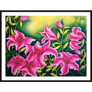 Debra Bucci 'Sunbathing Stargazer Pink Lilies' Framed Art