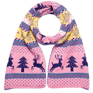 Double Sided Pink, Blue, and Yellow Long Winter Knit Scarf with Snowflakes, Christmas Trees, and Deer