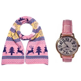 Double Sided WinterThemed Scarf and Watch Set