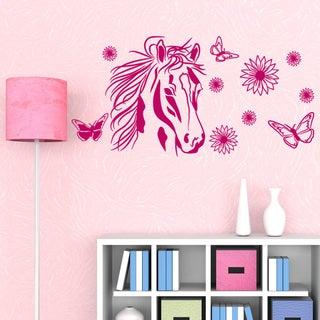 Flower Horse Girl Nursery Vinyl Wall Art
