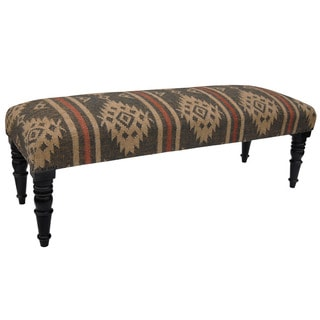 Herat Oriental Handmade Jute-upholstered Wooden Bench (India)