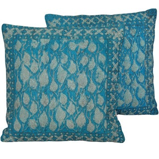 Herat Oriental Indo Handmade Blue Printed Cotton 20 Inch Pillows (India)