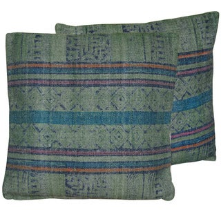 2 Herat Handmade Printed Cotton 20-inch Pillows (India)