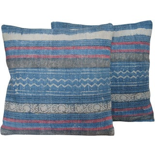 Herat Oriental Indo Handmade Printed Cotton 20-inch Pillows (Set of 2)