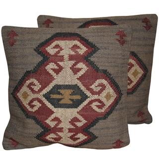 "Herat Oriental Indo Handmade Wool/ Jute 20"" Pillows (Set of Two)"
