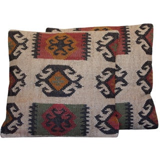 Herat Oriental Indo Handmade Wool/ Jute 20'' Pillows (Set of Two)