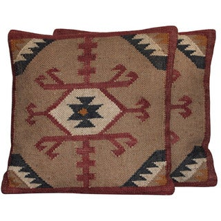 Set of 2 Herat Oriental Handmade Wool/ Jute 20-inch Pillows (India)