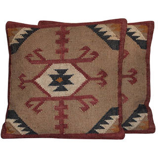 "Handmade 20"" Wool and Jute Pillow, Set of 2 (India)"