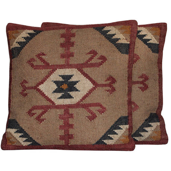 "Handmade 20"" Wool and Jute Pillow, Set of 2 (India)"