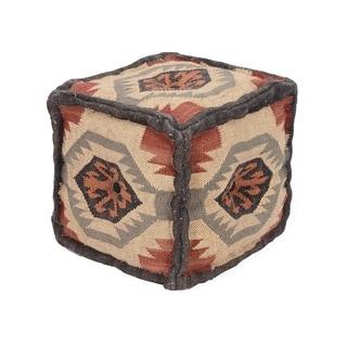 Herat Oriental Indo Handmade Wool/ Jute Puff (India)