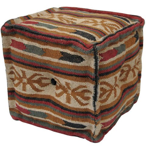 "Handmade Wool and Jute Tribal Ottoman (India) - 16"" x 16"" x 16"""