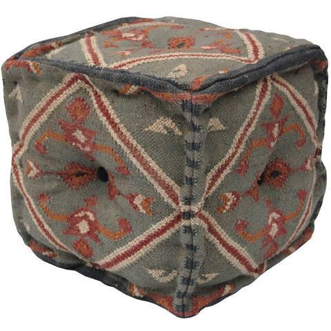 "Handmade Wool and Jute Ottoman (India) - 16"" x 16"" x 16"""