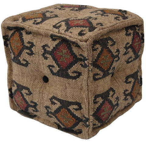 "Handmade Indo Wool and Jute Kilim Pouf (India) - 16"" x 16"" x 16"""
