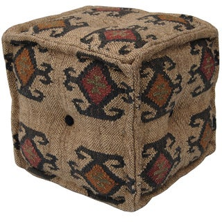 Handmade Herat Oriental Indo Wool/ Jute Kilim Decorative Pouf (India)