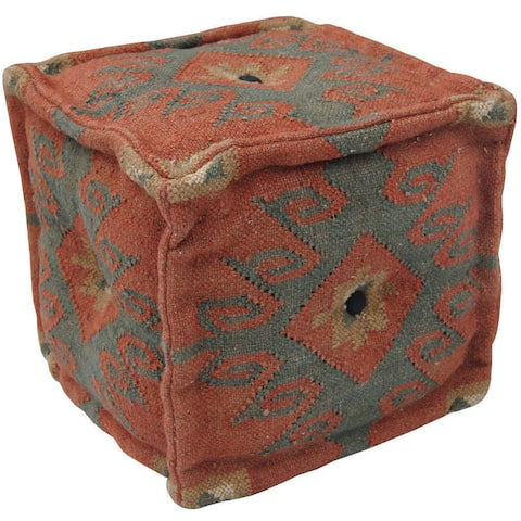 "Handmade Indo Wool and Jute Pouf (India) - 16"" x 16"" x 16"""