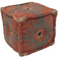 Herat Oriental Indo Handmade Wool/ Jute Pouf