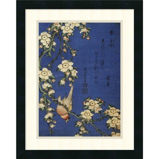 Hokusai 'Weeping Cherry and a Bullfinch' 18x22-inch Framed Art Print