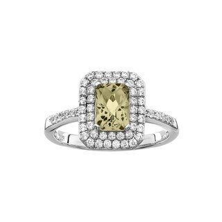 Isla Simone Fine Jewelry Platinum Plated Sterling Silver Cushion Cut CZ Ring