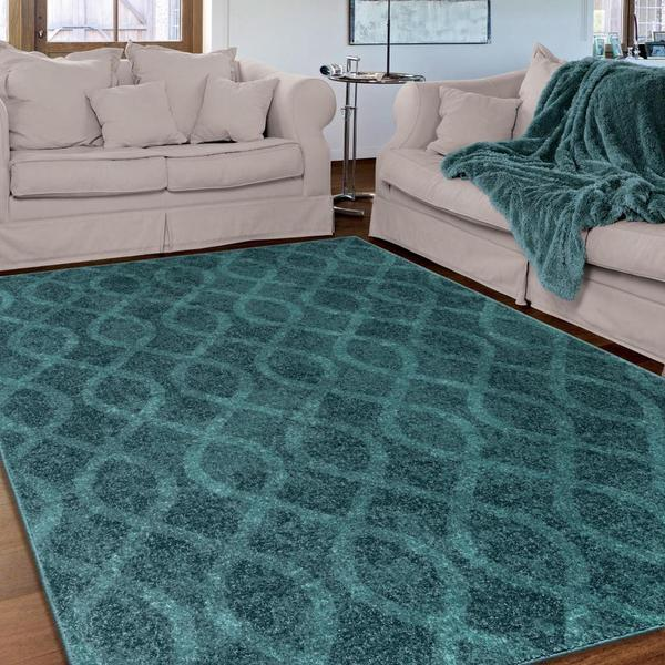 Shop Melodic Collection Tour De Loops Aqua Olefin Area Rug