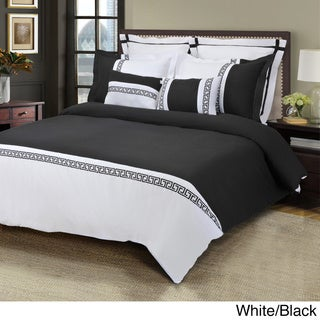Luxor Treasures Emma Wrinkle Resistant 7-piece Duvet Cover Set King/Cal King in Ivory/Taupe (As Is Item)
