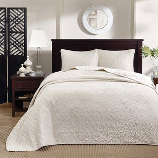 Madison Park Mansfield 3-piece King Size Oversized Bedspread Set in Cream (As Is Item)