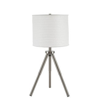 Signature Design by Ashley Susette Brushed Silver Finish Metal Table Lamp (Set of 2)