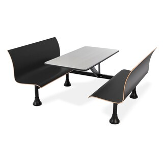Retro Bench with Stainless Steel Table Top and Wall Frame