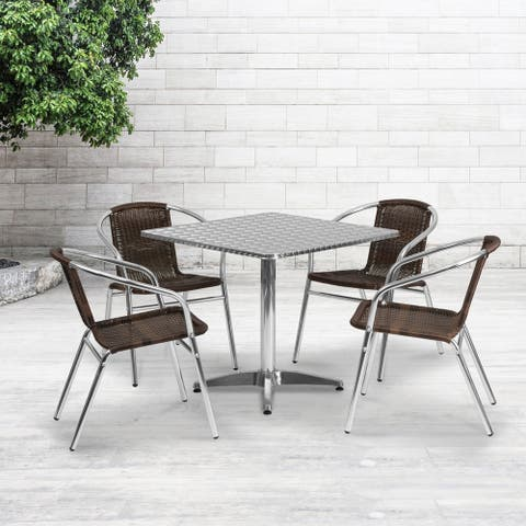 31.5'' Square Aluminum Indoor-Outdoor Table Set with 4 Rattan Chairs