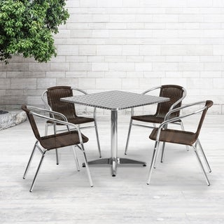 31.5-foot Square Aluminum Indoor/ Outdoor Table with 4 Rattan Chairs