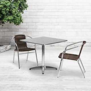 31.5-foot Square Aluminum Indoor/ Outdoor Table with 2 Rattan Chairs