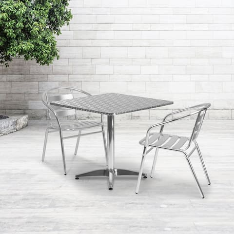 31.5-foot Square Aluminum Indoor/ Outdoor Table with 2 Slat Back Chairs