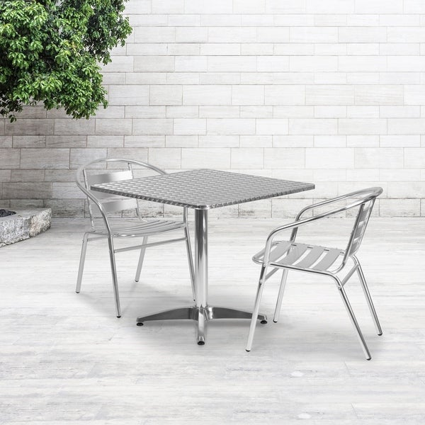 31.5-foot Square Aluminum Indoor/ Outdoor Table with 2 Slat Back Chairs. Opens flyout.
