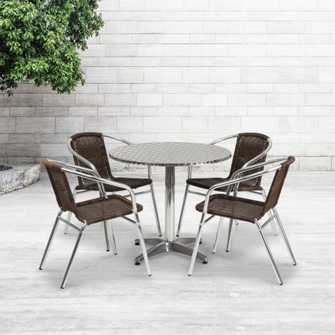 31.5'' Round Aluminum Indoor-Outdoor Table Set with 4 Rattan Chairs