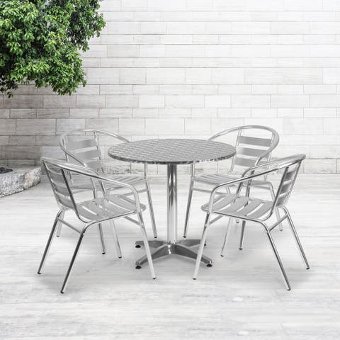 "31.5"" Round Aluminum Indoor-Outdoor Table Set with 4 Slat Back Chairs"