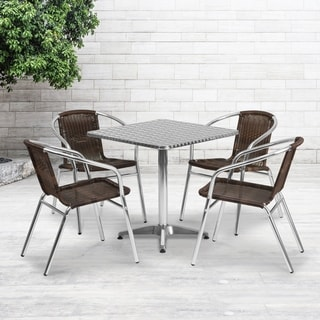 27.5'' Square Aluminum Indoor-Outdoor Table with 4 Rattan Chairs