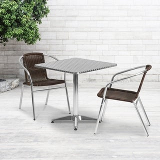 27.5-foot Square Aluminum Indoor/ Outdoor Table with 2 Rattan Chairs