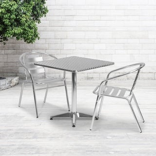 27.5-foot Square Aluminum Indoor/ Outdoor Table with 2 Slat Back Chairs