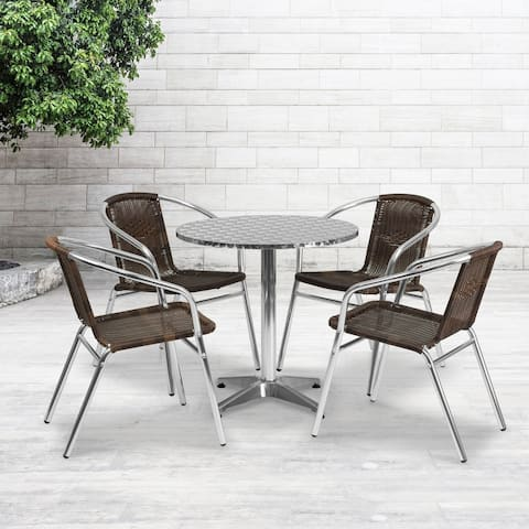 27.5'' Round Aluminum Indoor-Outdoor Table Set with 4 Rattan Chairs