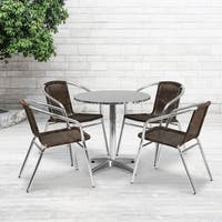 27.5-foot Round Aluminum Indoor/ Outdoor Table with 4 Rattan Chairs