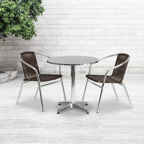 27.5-foot Round Aluminum Indoor/ Outdoor Table with 2 Rattan Chairs