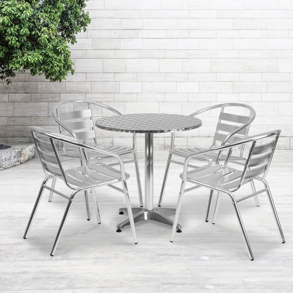 "27.5"" Round Aluminum Indoor-Outdoor Table Set with 4 Slat Back Chairs. Opens flyout."