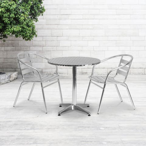 """27.5"""" Round Aluminum Indoor-Outdoor Table Set with 2 Slat Back Chairs - 27.5""""W x 27.5""""D x 27.5""""H"""