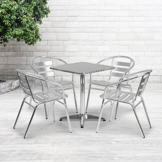 Link to 23.5-foot Square Aluminum Indoor/Outdoor Table with 4 Slat Back Chairs Similar Items in Outdoor Dining Sets